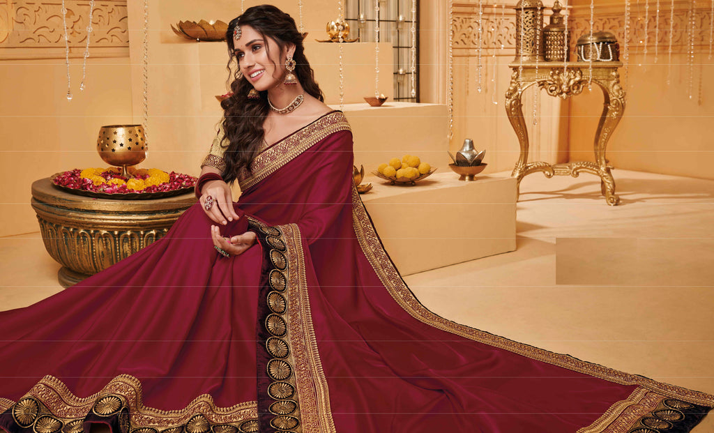 Maroon Color Silk Beautiful Occasion Wear Sarees NYF-4184 - YellowFashion.in