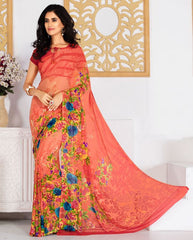 Peach Color Georgette Daily Wear Sarees : Tanusiya Collection  YF-40921