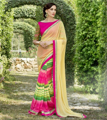 Yellow & Pink Color Georgette Festival & Function Wear Sarees : Nikara Collection  YF-41124
