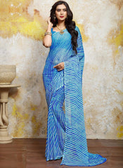 Blue & Firozi Color Chiffon Casual Bandhej Sarees : Rangrit Collection  YF-52774