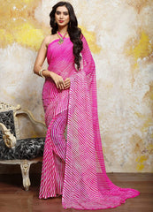 Pink Color Chiffon Casual Bandhej Sarees : Rangrit Collection  YF-52775