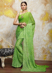 Green Color Chiffon Casual Bandhej Sarees : Rangrit Collection  YF-52776