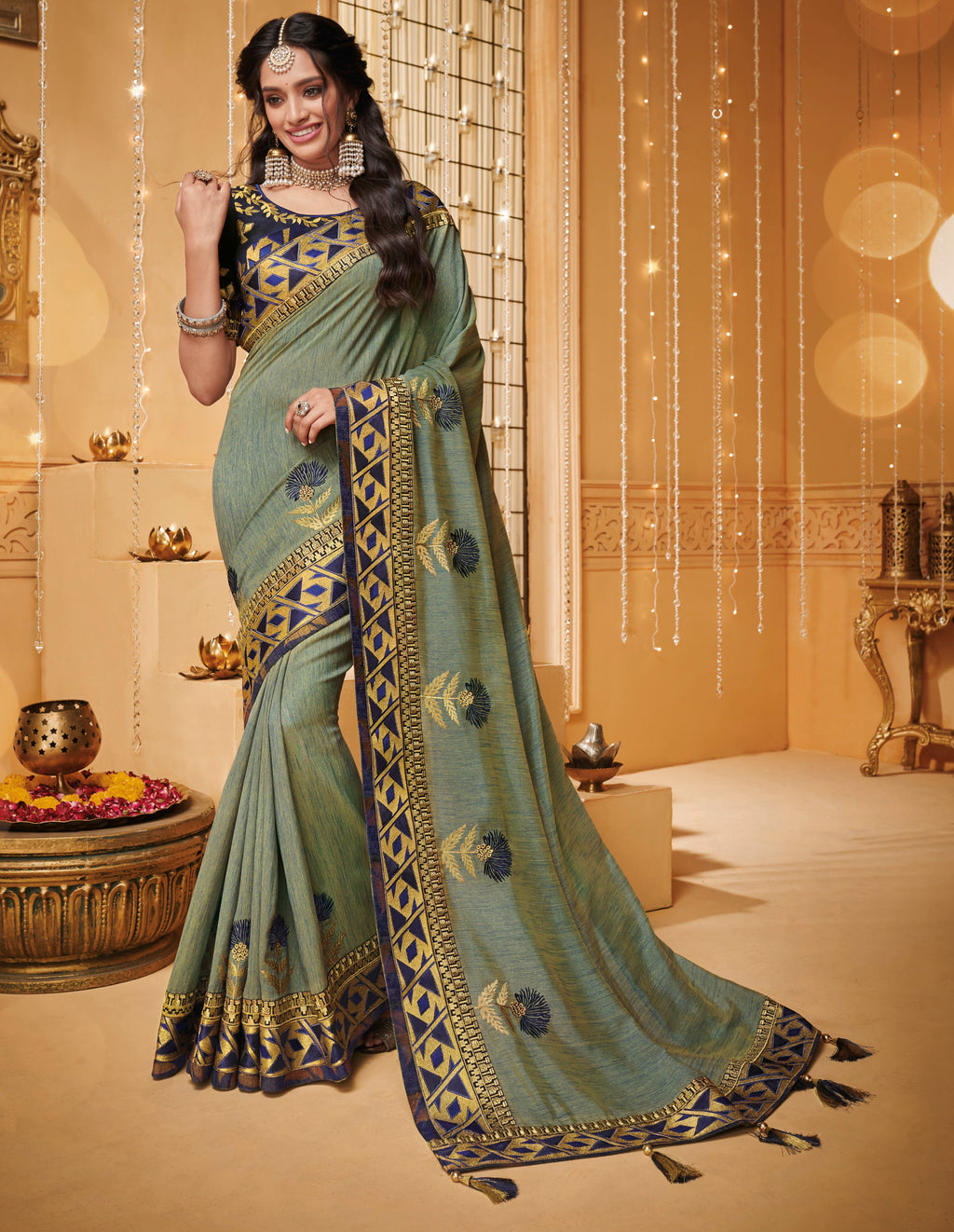Green & Blue Color Silk Beautiful Occasion Wear Sarees NYF-4185 - YellowFashion.in