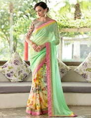 Pastel Green & Yellow Color Georgette Festival & Function Wear Sarees : Nikara Collection  YF-41125