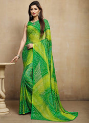 Green & Yellow Color Chiffon Casual Bandhej Sarees : Rangrit Collection  YF-52777
