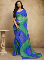Blue & Green Color Chiffon Casual Bandhej Sarees : Rangrit Collection  YF-52779