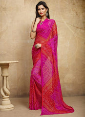 Orange & Pink Color Chiffon Casual Bandhej Sarees : Rangrit Collection  YF-52780