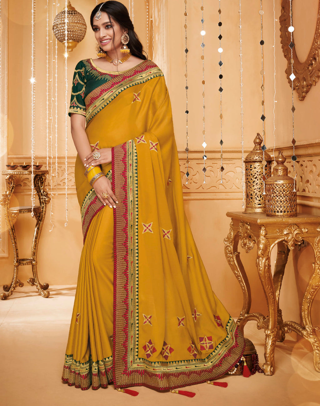 Yellow Color Silk Beautiful Occasion Wear Sarees NYF-4186 - YellowFashion.in