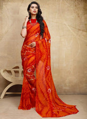 Orange & Red Color Chiffon Casual Bandhej Sarees : Rangrit Collection  YF-52781