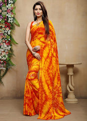 Red & Yellow Color Chiffon Casual Bandhej Sarees : Rangrit Collection  YF-52782