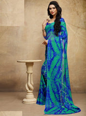 Blue & Green Color Chiffon Casual Bandhej Sarees : Rangrit Collection  YF-52783