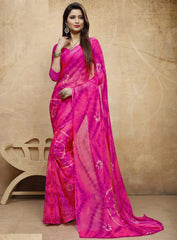 Pink Color Chiffon Casual Bandhej Sarees : Rangrit Collection  YF-52784