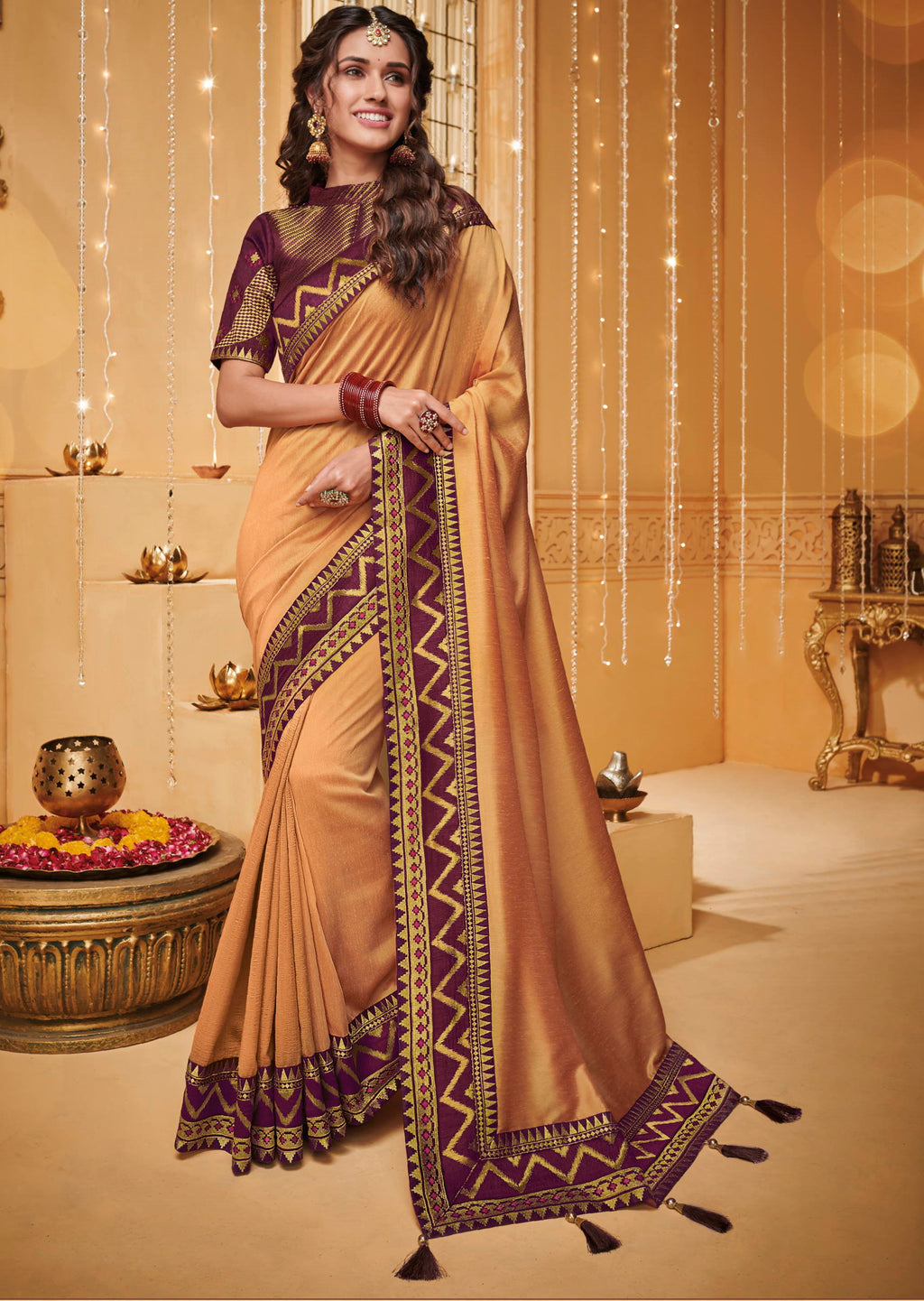 Light Coffee Color Silk Beautiful Occasion Wear Sarees NYF-4187 - YellowFashion.in