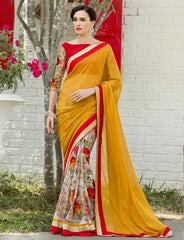Mustard Yellow Color Georgette Festival & Function Wear Sarees : Nikara Collection  YF-41127