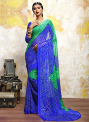 Green & Blue Color Chiffon Casual Bandhej Sarees : Rangrit Collection  YF-52785