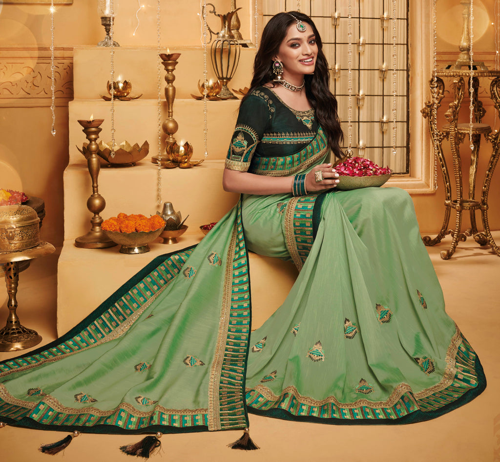 Pastel Green Color Silk Beautiful Occasion Wear Sarees NYF-4188 - YellowFashion.in