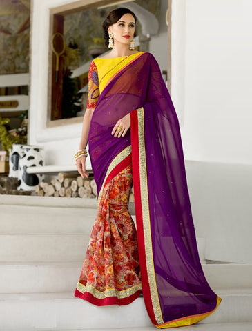 Purple & Red Color Georgette Festival & Function Wear Sarees : Nikara Collection  YF-41128