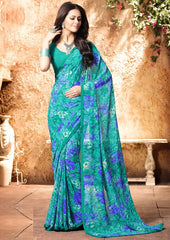 Green Color Georgette Kitty Party Sarees : Madhurima Collection  YF-47849