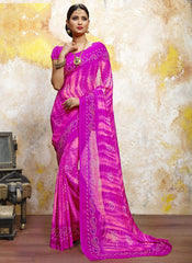 Rani Pink Color Chiffon Casual Bandhej Sarees : Rangrit Collection  YF-52788