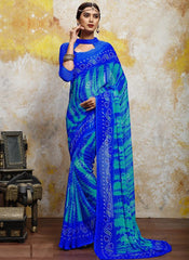 Blue Color Chiffon Casual Bandhej Sarees : Rangrit Collection  YF-52790
