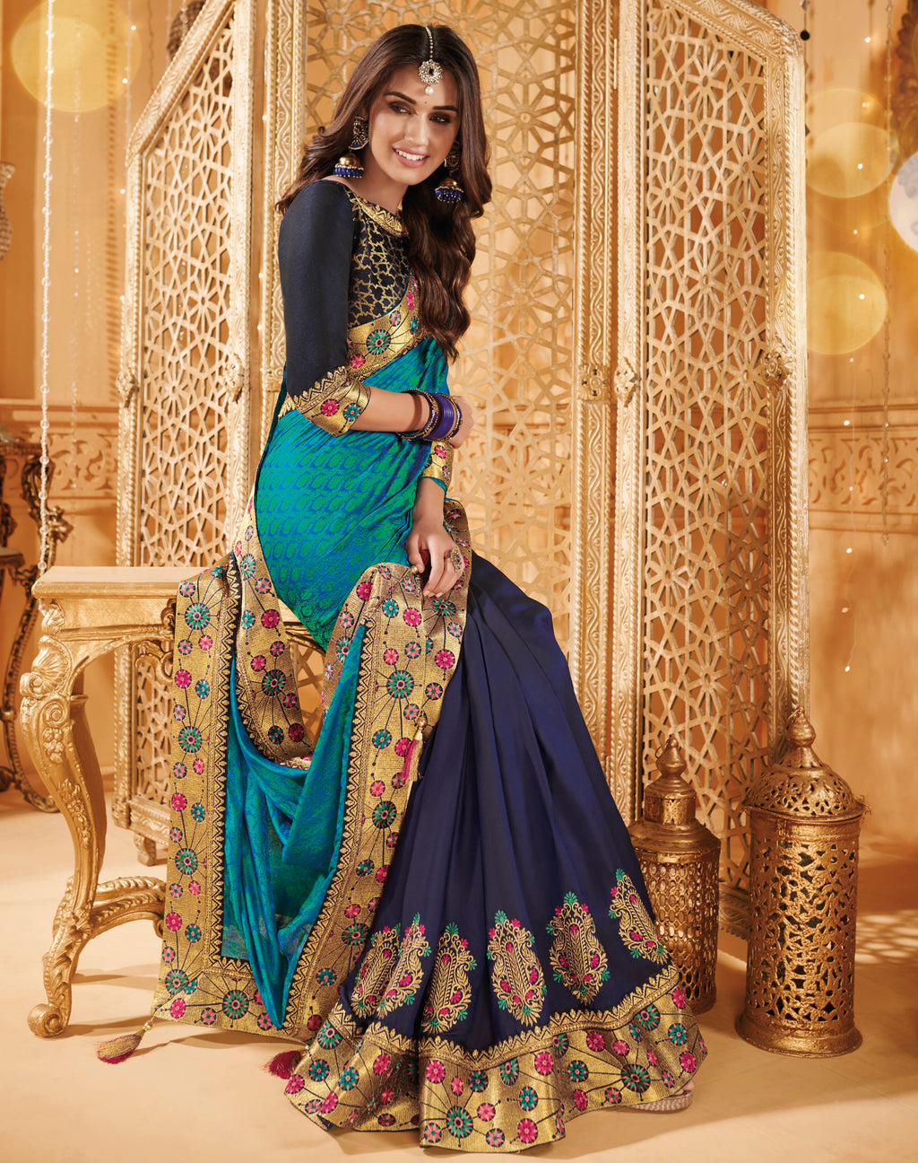 Firozi & Blue Color Silk Beautiful Occasion Wear Sarees NYF-4189 - YellowFashion.in