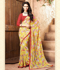 Yellow Color Georgette Kitty Party Sarees : Madhurima Collection  YF-47850