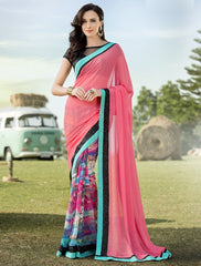 Pink Color Georgette Festival & Function Wear Sarees : Nikara Collection  YF-41129