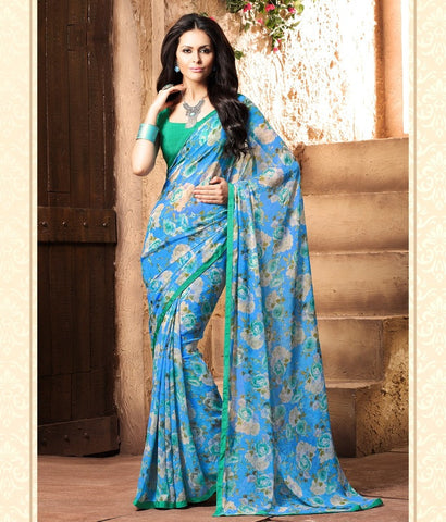 Firozi Color Georgette Kitty Party Sarees : Madhurima Collection  YF-47851