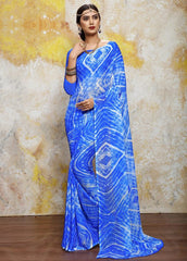 Blue Color Chiffon Casual Bandhej Sarees : Rangrit Collection  YF-52791