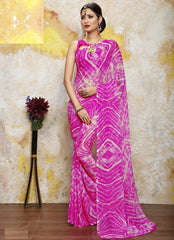 Pink Color Chiffon Casual Bandhej Sarees : Rangrit Collection  YF-52792