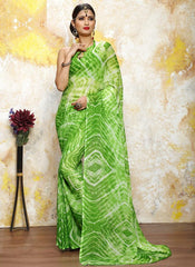 Green Color Chiffon Casual Bandhej Sarees : Rangrit Collection  YF-52793