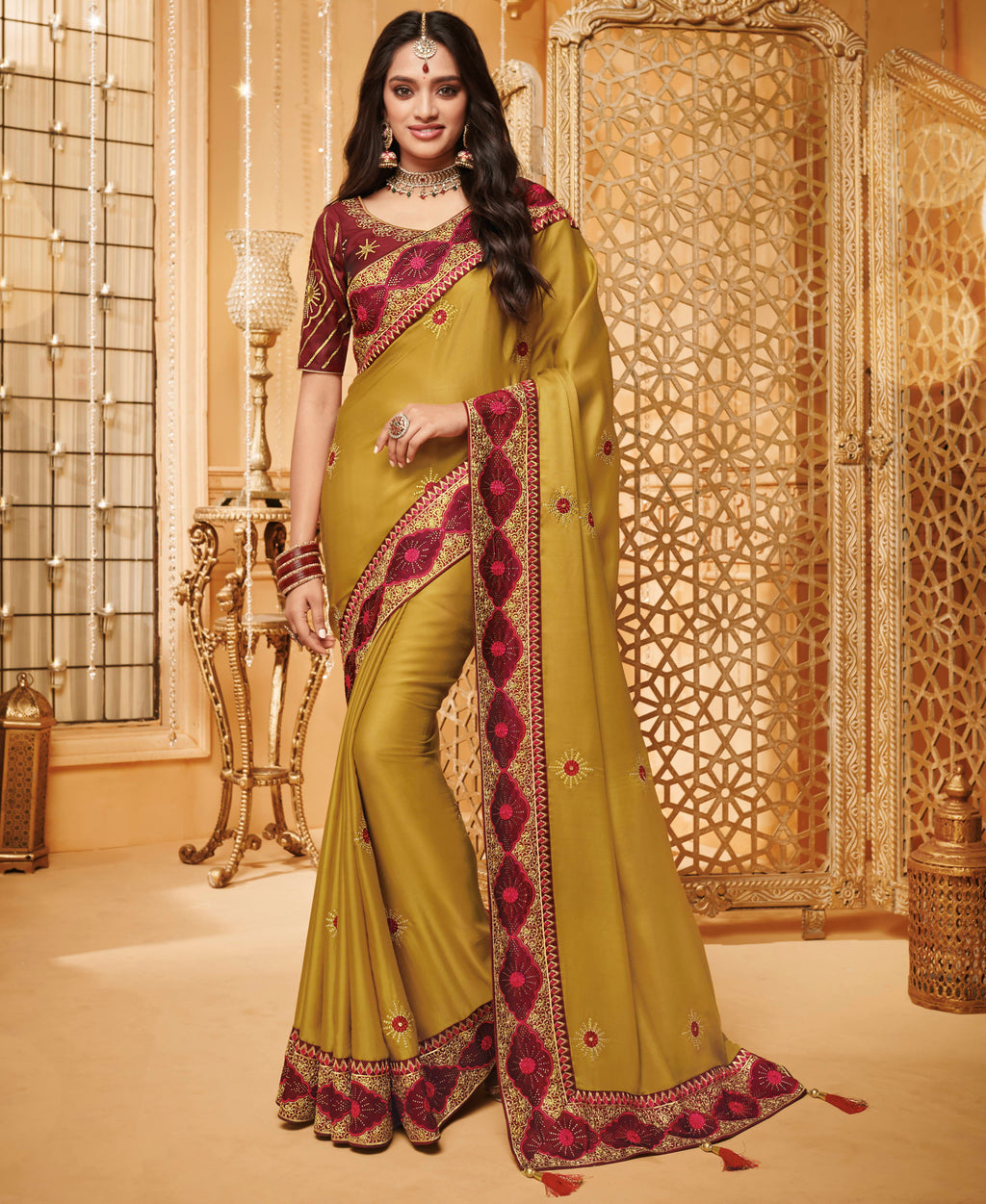Mustard Yellow Color Silk Beautiful Occasion Wear Sarees NYF-4190 - YellowFashion.in