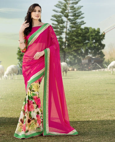 Rani Pink Color Georgette Festival & Function Wear Sarees : Nikara Collection  YF-41130