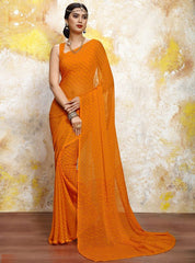 Orange Color Chiffon Casual Bandhej Sarees : Rangrit Collection  YF-52794