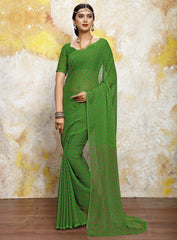 Green Color Chiffon Casual Bandhej Sarees : Rangrit Collection  YF-52795