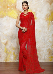 Red Color Chiffon Casual Bandhej Sarees : Rangrit Collection  YF-52796