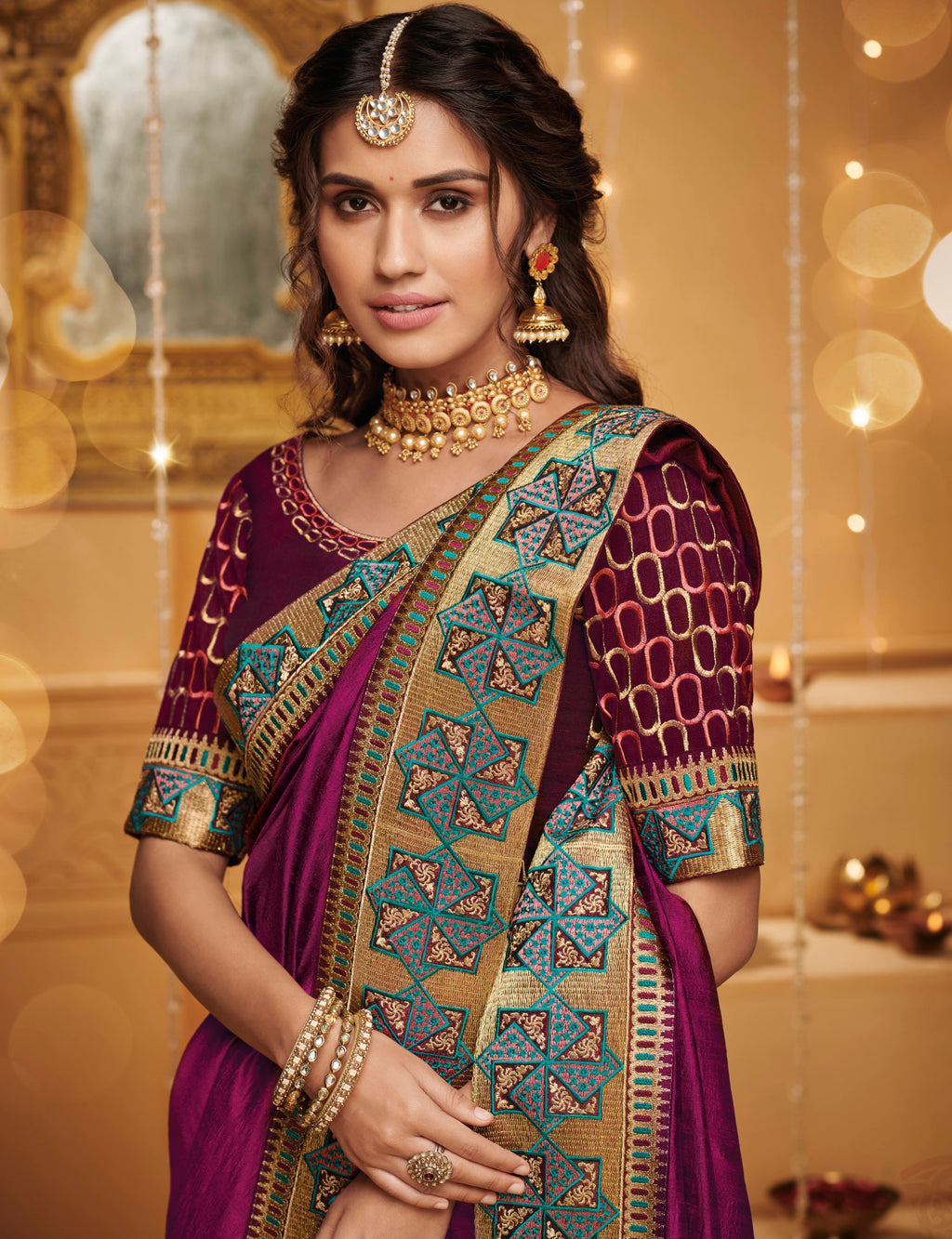 Purple Color Silk Beautiful Occasion Wear Sarees NYF-4191 - YellowFashion.in