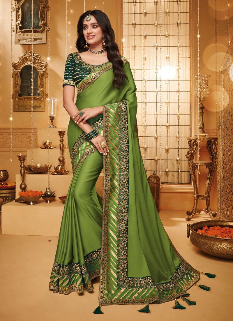 Green Color Silk Beautiful Occasion Wear Sarees NYF-4192 - YellowFashion.in