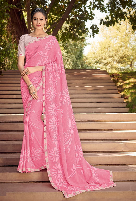 Pink  Color Georgette Silk Kitty Party Saree- Jivita  Collection YF#10350