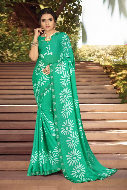 Green  Color Georgette Silk Kitty Party Saree- Jivita  Collection YF#10356