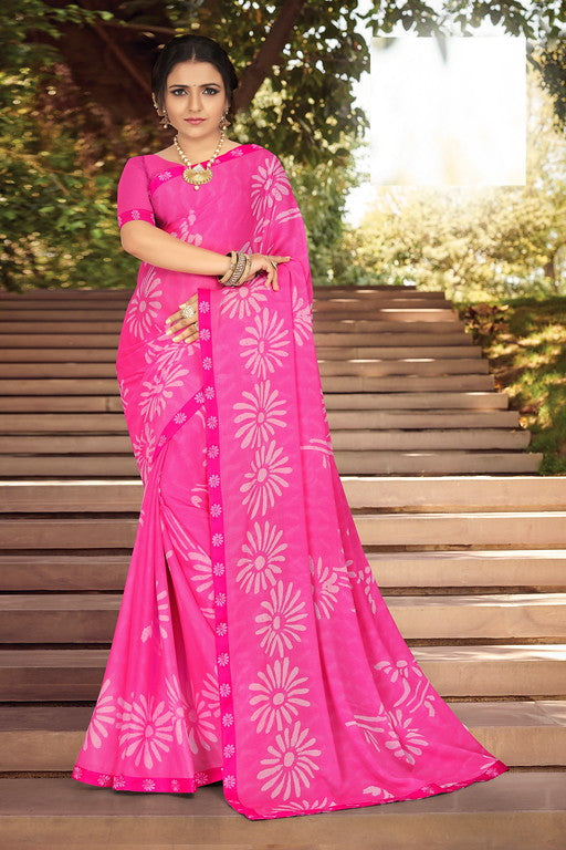 Bright Pink Color Georgette Silk Kitty Party Saree- Jivita  Collection YF#10357