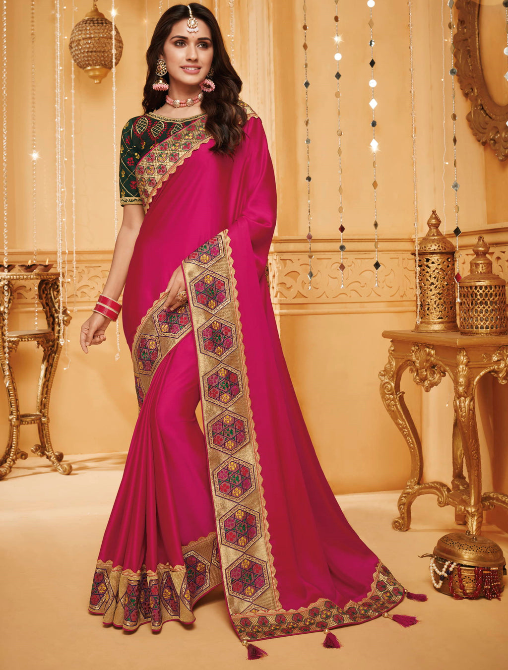 Rani Pink Color Silk Beautiful Occasion Wear Sarees NYF-4193 - YellowFashion.in