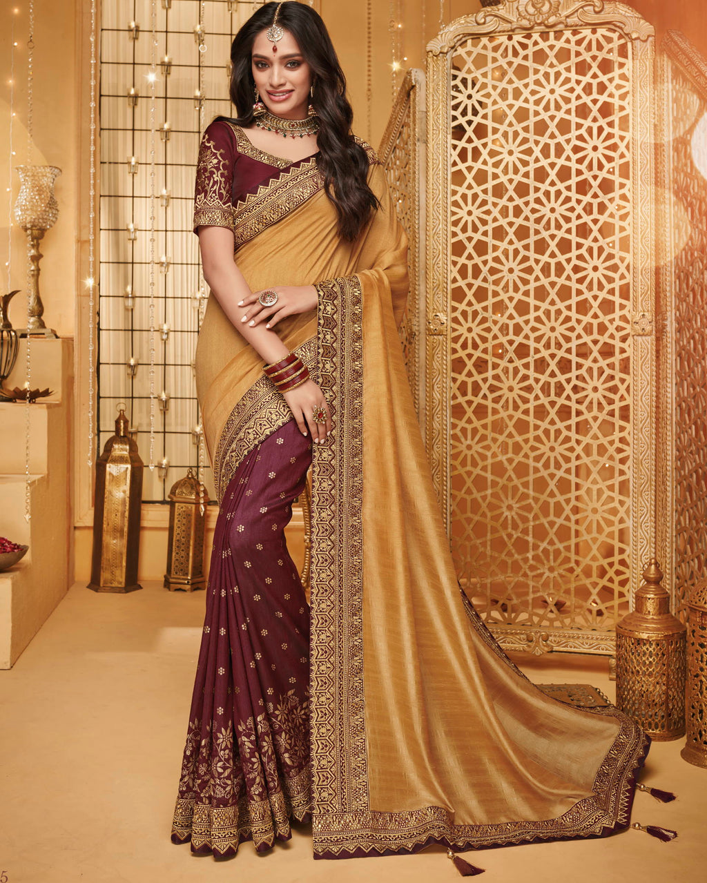 Golden & Maroon Color Silk Beautiful Occasion Wear Sarees NYF-4194 - YellowFashion.in
