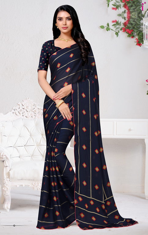Navy Blue Color Chiffon Casual Wear Saree - Forum Collection YF#10944
