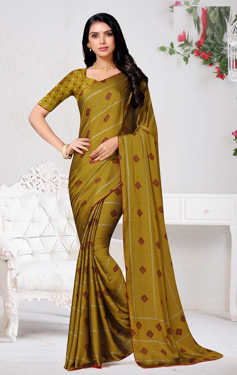 Mehendi Green Color Chiffon Casual Wear Saree - Forum Collection YF#10949