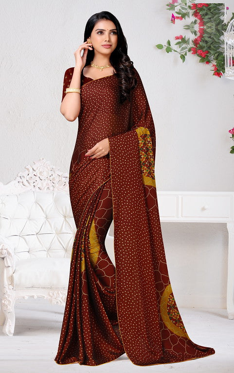 Brown Color Chiffon Casual Wear Saree - Forum Collection YF#10951