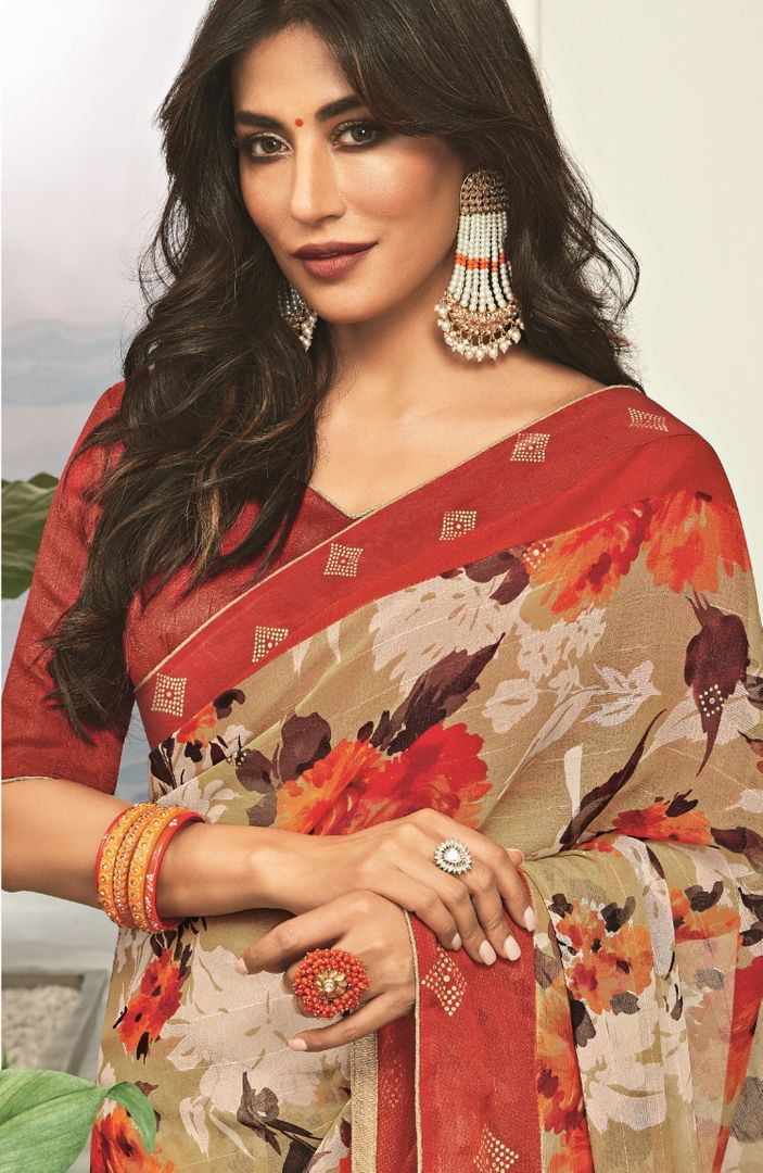 Multi Color Georgette Printed Party Wear Sarees NYF-5167