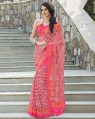 Pink & Orange Color Georgette Office Wear Sarees : Parindra Collection  YF-50092