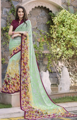 Pastel green Color Georgette Kitty Party Sarees : Anurupika Collection  YF-47816