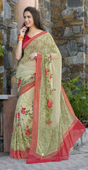 Pastel Green Color Georgette Kitty Party Sarees : Anurupika Collection  YF-47824